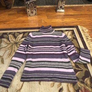 Sarah Spencer purple striped wool sweater